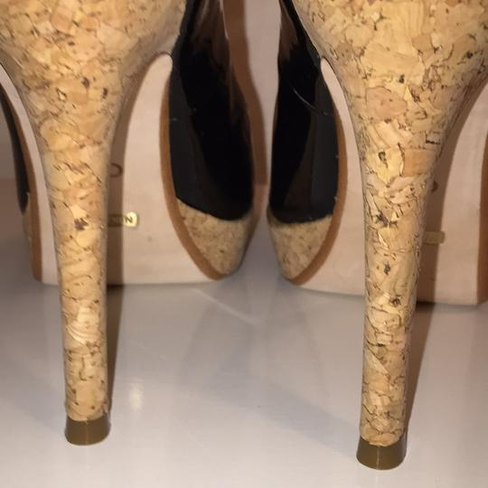 Cole Haan Black Patent and Cork Platforms