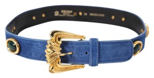 Escada * Escada Guertel Blue Suede Leather Belt - Size 38