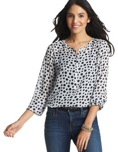 Ann Taylor LOFT Essentials Popover Top Blue and White