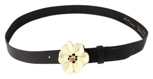 B-Low the Belt * B-Low Black Leather Flower Belt - Size 38