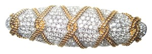 Swarovski Large, Gold Plated and Pave Crystal Bar Pin --Swan Signed-- Twisted Rope Motif