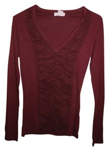 Wearables Longsleeve V-neck Fitted Cinched Top Maroon