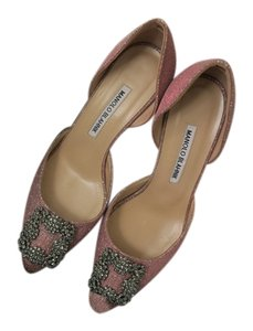 Manolo Blahnik Made In Italy New Limited Edition Pink with sparkles Pumps