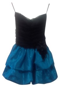L'ette Black Tulle Teal Satin Strapless Bubble Feather Stone Clip Bow Ruched Dress