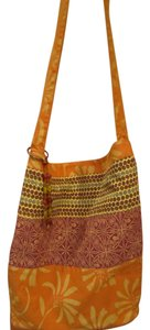Old Navy Print Beach Orange Plum Blue Yellow Coral Bead Trim Wood Tote in Multi