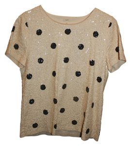 J.Crew Polka Dot Sequin Short Sleeve Top Cream and Black