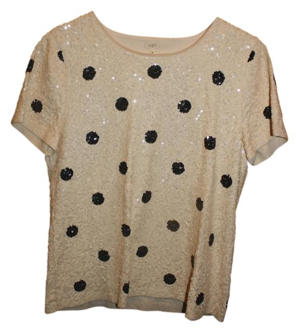 Item - Sequined Polka Dot Shirt Cream and Black Top