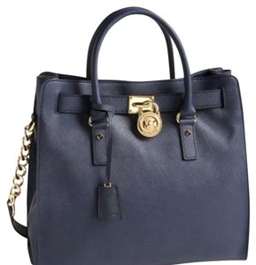 Michael Kors Leather Silver Hardware Tote in Navy