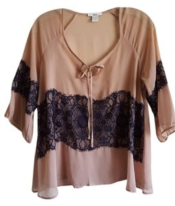 Bar III Vintage Style Sheer Top Taupe