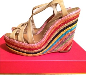 Kate Spade Nude Colorblock Striped Espadrille Nude Patent Wedges