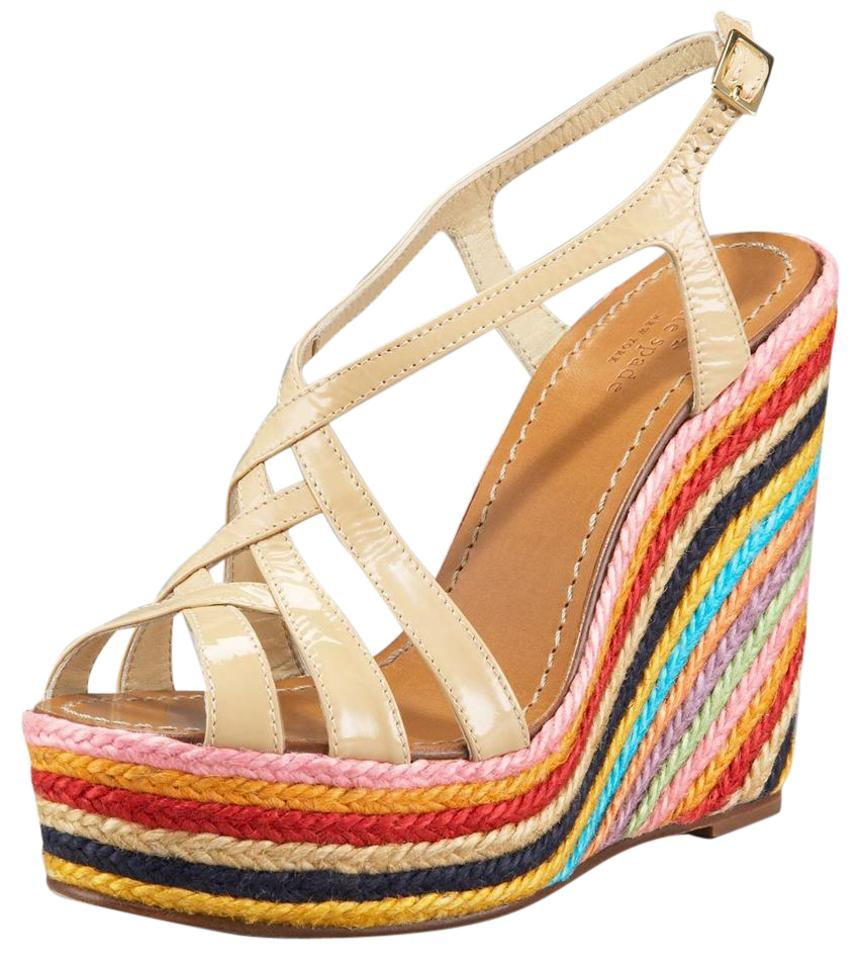 d5bcdaa13fa Kate Spade Nude Patent Lindsay Colorblock Striped Straw Espadrille Sandals  Wedges