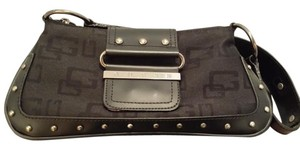 Guess Logo Jacquard Faux Leather Studded Gunmetal Hardware Shoulder Bag