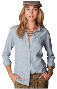 Free People Crochet Open Back Button Down Shirt Chambray