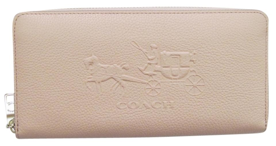 huge discount 62207 b2437 Coach Apricot 52401 Embossed Horse & Carriage Accordion Zip Wallet 52% off  retail