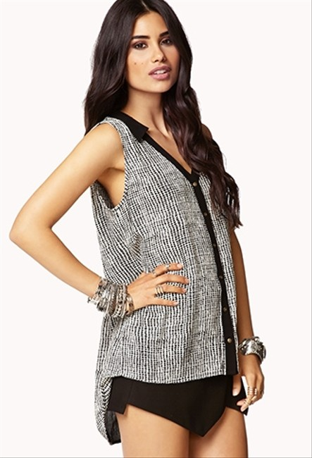 Forever 21 Essentials Workwear Top Black and White