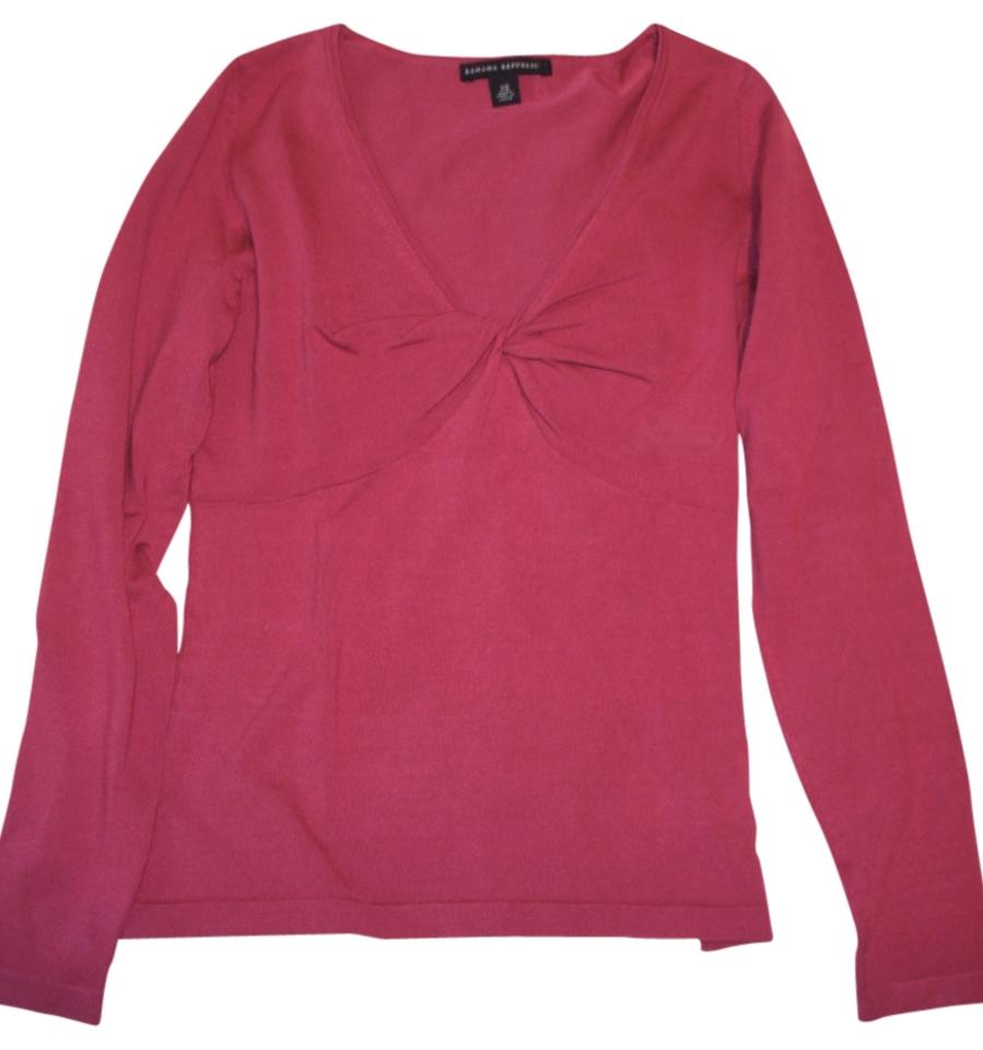 8515132a8601 Banana Republic V-neck Silk Knotted Front Longsleeve Raspberry Red Sweater