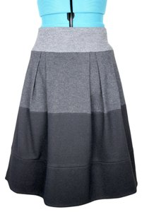 Vince Colorblock Pleated A Line Wool Blend Skirt Gray & Black