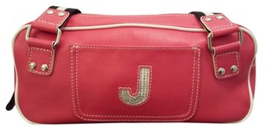 Guess Rhinestone Monogram Faux Leather Satchel in Red
