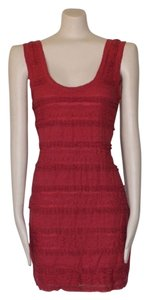Anthropologie short dress RED Lace Fitted Stretchy Bodycon on Tradesy