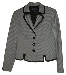 Evan Picone Blazer New Size 4 Button Down Shirt Black and white
