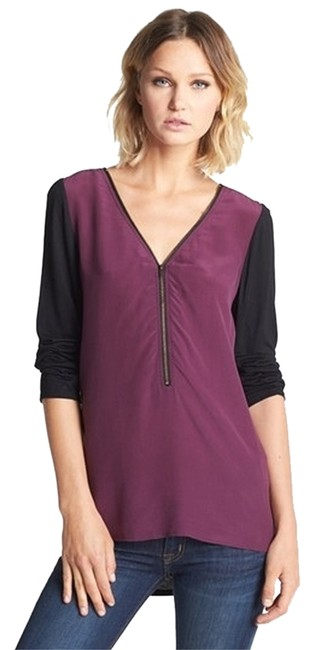 Trouvé Essentials Zipper Detail Top Purple and Black