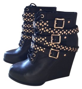 BCBGeneration Ankle Studded Hardware Leather Black & Gold Boots