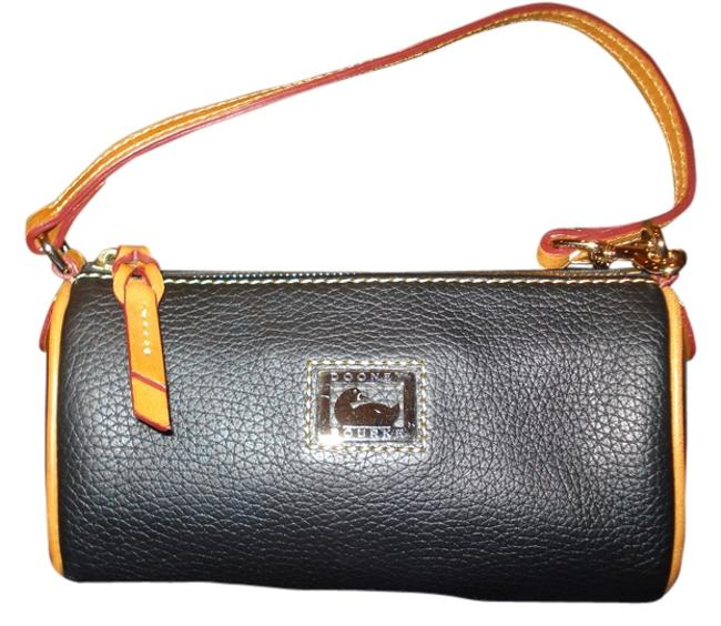 Item - Barrel Rich Black and Brown Colors W/Silver Hardware Leather Baguette