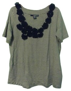 Denim 24/7 Beaded Flower Striped T Shirt Black and White