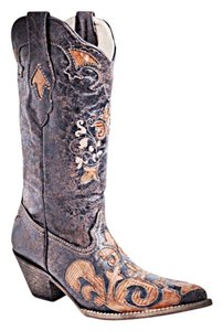 Corral Brown with orange lizard skin underlay Boots