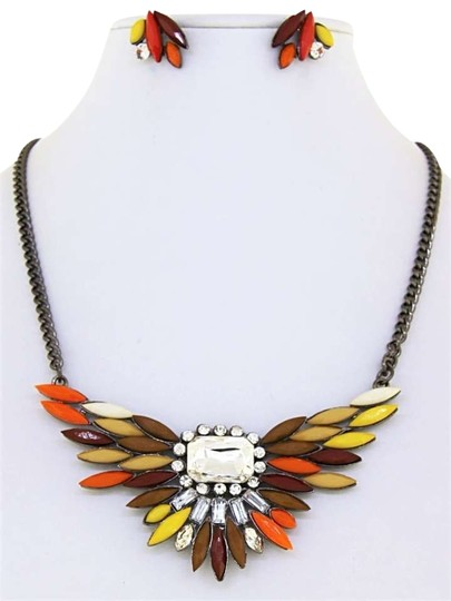 Unknown Brown Mix Acrylic and Clear Crystal Necklace Set