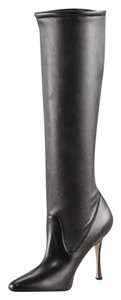 Manolo Blahnik Leather Stretchy Classic Black Boots