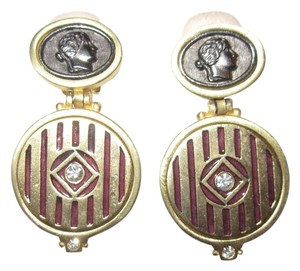 Other Roxanne Assoulin Large Classic Cameo Crystal Gold Plated Clip Earrings --SUPERB!