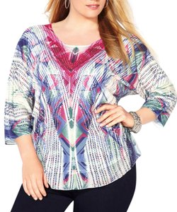 Avenue Plus Size Women's Print Resort Vacation 3x 26 28 Top Multi