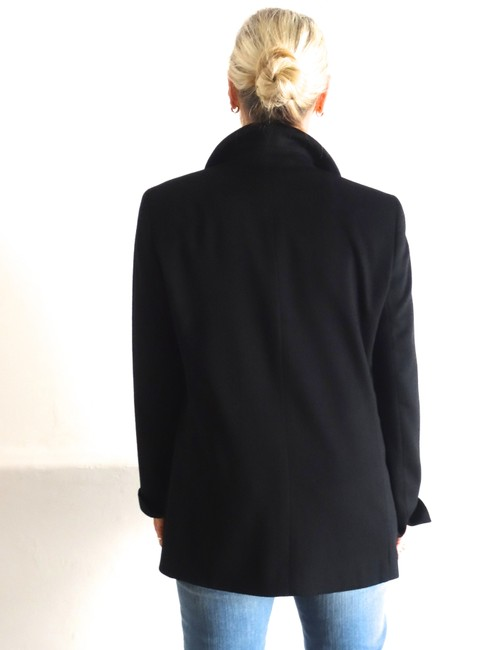 Akris Cashmere Soft Covered Zipper Front Stand Up Collar Black Jacket
