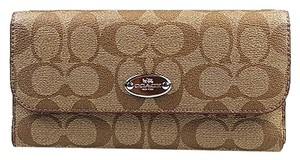 Coach Coach Signature PVC Checkbook Wallet in Khaki/Sunset Red NEW WITH TAG
