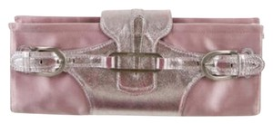 Jimmy Choo Imported Leather Metallic Satin Italian Logo Monogram pink Clutch