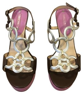 Céline rose, brown and gold/silver metallic Sandals