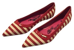 Naughty Monkey Red, white striped Flats