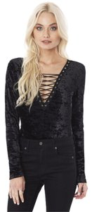 Emma & Sam Sexy Body Laceup Velvet Top Black