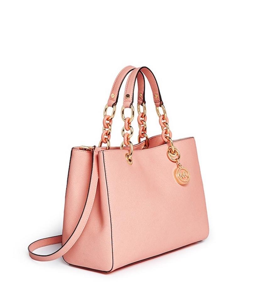 Michael Kors Cynthia Medium New With Tags Pale Pink Gold Hardware Saffiano Leather Satchel Tradesy