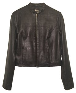 Cache Military Collar Tailored Chic Solid Black Checkerboard Design Leather Jacket