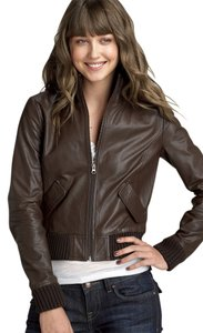 Nordstrom Frenchi Leather Bomber Brown Leather Jacket