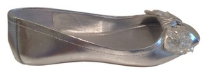 BCBGeneration Bow With Faux Crystals Silver Flats