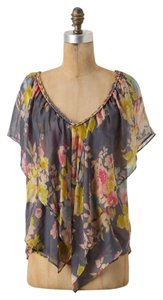 Anthropologie Silk Floral Periwinkle Braided Walled City Top Blue Foral
