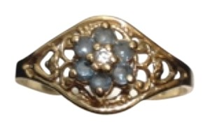 10K YELLOW GOLD RING WITH BLUE AQUAMARINE STONE SIZE 5
