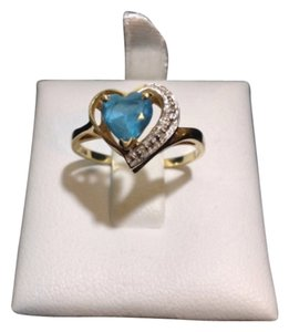 Other 14K YELLOW GOLD WITH BLUE STONE HEART DESIGN