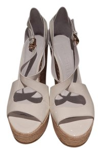 Burberry Patent White Wedges