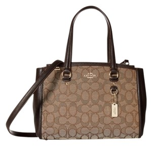 Coach Christie Carryall Shoudler 36877 Satchel in Outline C smoke Brown