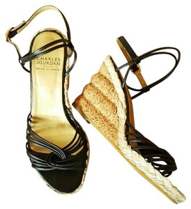 Charles Jourdan 5.5 Gold Cork Black Wedges