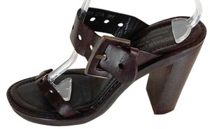 Donald J. Pliner J Wood Platform Slides Brown Platforms
